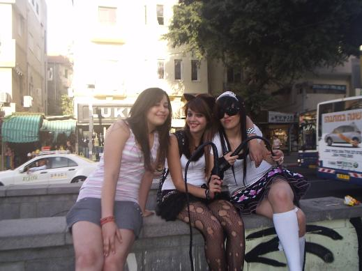 teen girls dressing up and having fun in Tel Aviv