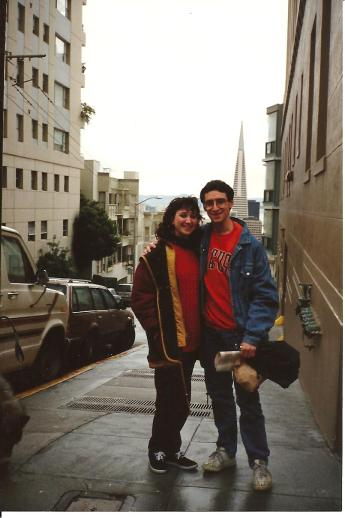 my husband and I, much younger, living in the city where the earth is supposed to quake