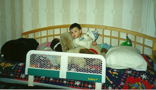 """First night in HIS big boy bed with all HIS animals. This photo just says """"mine."""""""