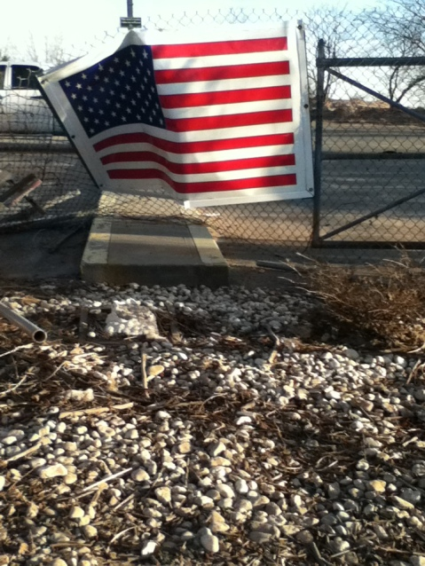 the site of a local 9/11 memorial. There used to be a statue and a plaque here, all gone.
