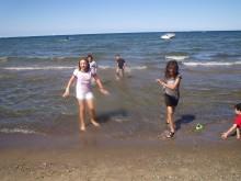splashing in Lake Ontario