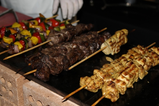 Beef, chicken and vegetable kebobs at a Morrocan themed Kosher catered affair