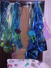 "Create your own Sea of Reeds with blue cellophane and ""jellyfish"" made out of kippot and duct tape"