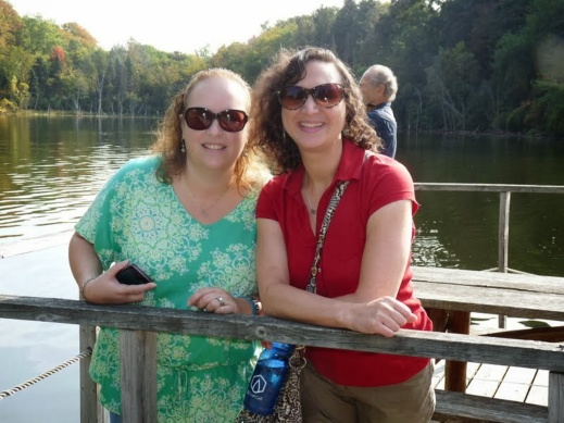 In Happier Healthier times, Amy and I at Johnson Nature Center